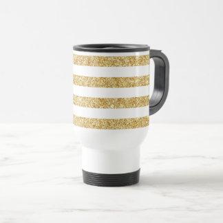 Caneca Térmica Brilho elegante do ouro do falso e teste padrão