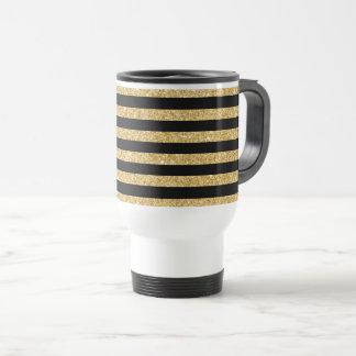 Caneca Térmica Brilho elegante do ouro e teste padrão preto da