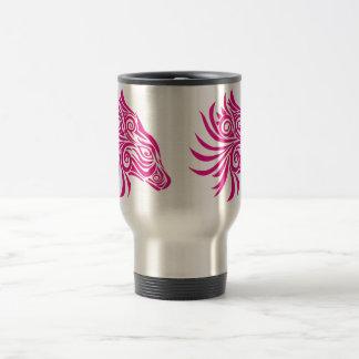 Caneca Térmica Cabeça de cavalo abstrata cor-de-rosa