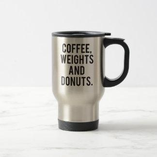 Caneca Térmica Café, pesos e rosquinhas - Gym engraçado da