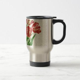 Caneca Térmica Caligrafia vermelha das tulipas