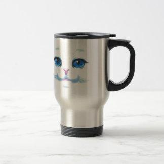 Caneca Térmica Cara branca bonito dos olhos azuis do gato