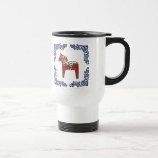 Caneca Térmica Cavalo de Dala do sueco com quadro azul do rolo de