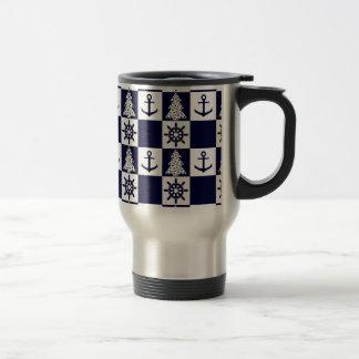 Caneca Térmica Checkered branco azul náutico