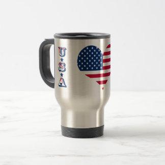 Caneca Térmica Coração americano dos EUA da bandeira de América
