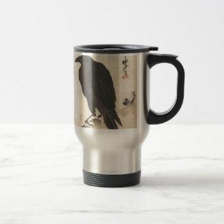 Caneca Térmica Corvo de Kawanabe Kyosai que descansa na arte de