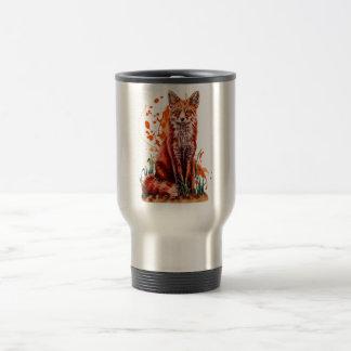 Caneca Térmica Desenho da arte animal vermelha do Fox e da