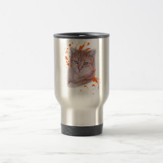 Caneca Térmica Desenho do gato e da pintura alaranjados de gato