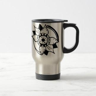 Caneca Térmica Desenho preto e branco monocromático da flor