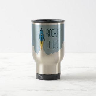 Caneca Térmica Desenhos animados retros azuis Rocketship do