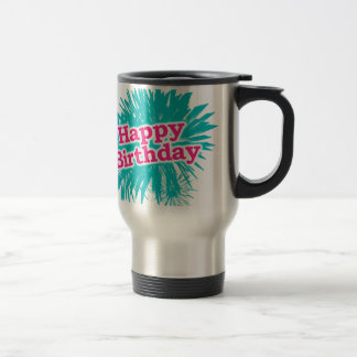 Caneca Térmica Design tipográfico feliz de Brithday
