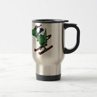 Caneca Térmica Esqui verde engraçado do dinossauro de Trex