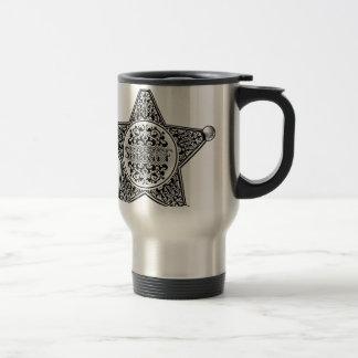 Caneca Térmica Estilo gravado crachá da estrela do xerife