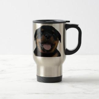 Caneca Térmica Filhote de cachorro masculino feliz de Rottweiler