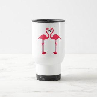Caneca Térmica Flamingo-pássaro-amor-coração cor-de-rosa