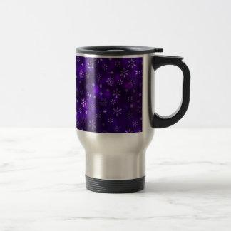 Caneca Térmica Flocos de neve violetas