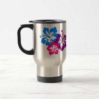 Caneca Térmica Flores tropicais do hibiscus em cores brilhantes