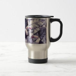 Caneca Térmica Folhas tropicais violetas da banana de Toucan do