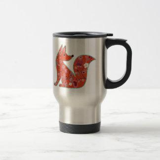 Caneca Térmica Fox do teste padrão de flor da arte popular