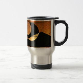 Caneca Térmica Fulgor dos planetas, preto e cobre, design gráfico