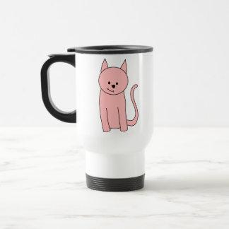Caneca Térmica Gato cor-de-rosa bonito bonito