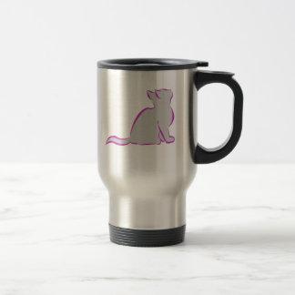 Caneca Térmica Gato cor-de-rosa, suficiência cinzenta