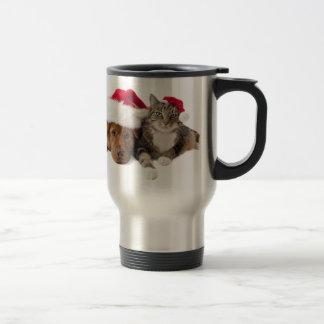 Caneca Térmica Gatos e cães - gato do Natal - cão do Natal