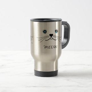 Caneca Térmica Gráfico da cara do MEOW-Gato legal