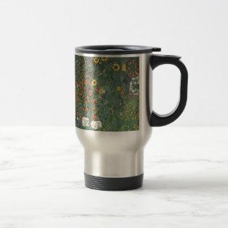 Caneca Térmica Gustavo Klimt - flores dos girassóis do jardim do