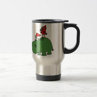 Caneca Térmica Hipopótamo verde engraçado do Natal