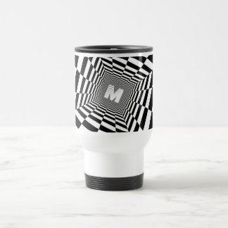 Caneca Térmica Ilusão óptica preta & branca, monograma branco