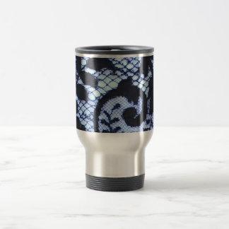 Caneca Térmica Impressão bonito do laço do vintage preto & azul