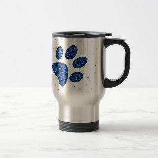 Caneca Térmica impressão sparkling da pata do gato - azul
