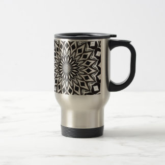 Caneca Térmica Mandala decorativa preto e branco