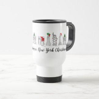Caneca Térmica Marcos do Xmas do feriado do Natal da Nova Iorque