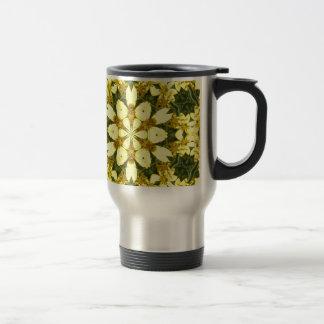 Caneca Térmica margaridas abstratas florais amarelas do design