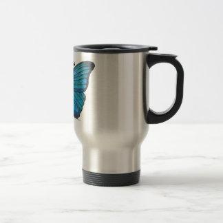 Caneca Térmica Mariposa, copo de café azul da borboleta