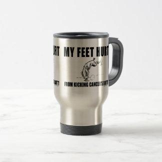 Caneca Térmica Meu dano dos pés de retroceder o bumbum do cancer