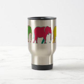 Caneca Térmica Mínimos brilhantes alegres dos elefantes coloridos