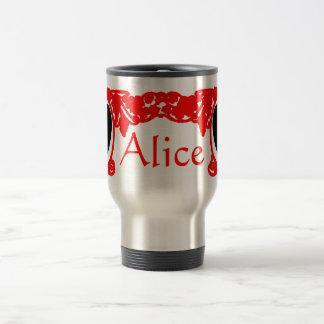Caneca Térmica Modelo vermelho do quadro do vintage de Alice do
