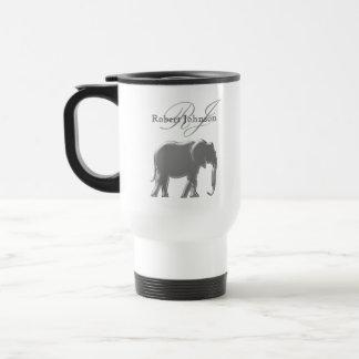Caneca Térmica Monograma elegante de prata do arenito do elefante