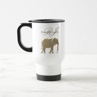 Caneca Térmica Monograma elegante dourado do arenito do elefante