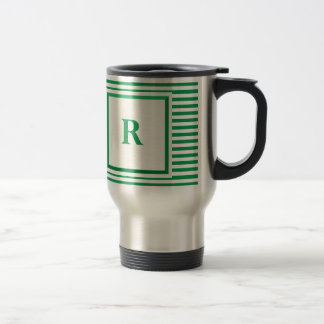 Caneca Térmica Monograma listrado verde e bege de R