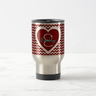 Caneca Térmica Monograma vermelho e branco no coração