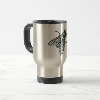 Caneca Térmica mosca verde - imitação do bordado