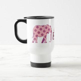 Caneca Térmica Na moda elegante da silhueta cor-de-rosa floral do