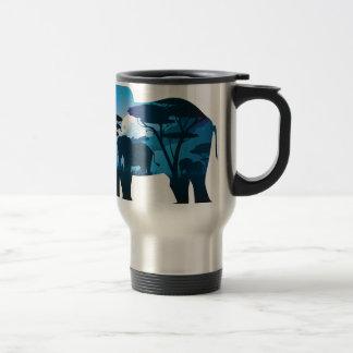 Caneca Térmica Noite africana com elefante 6