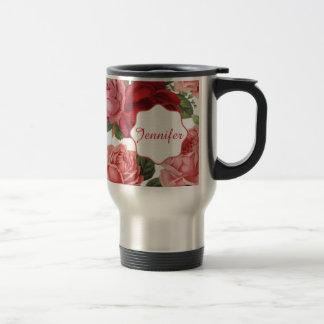 Caneca Térmica Nome floral dos rosas rosas vermelha elegantes