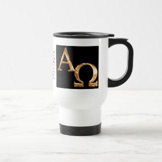 Caneca Térmica Ouro símbolos alfa e de Omega no fundo preto