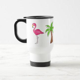 Caneca Térmica Paraíso tropical da palmeira da ilha do flamingo